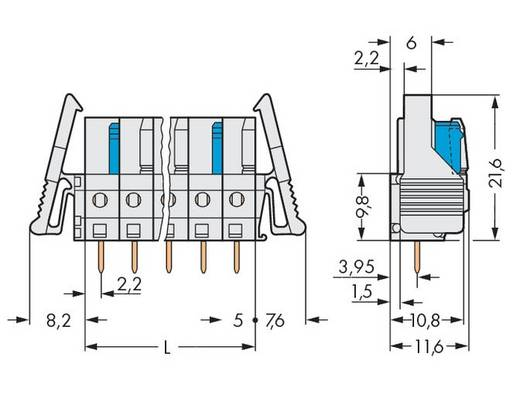 WAGO 722-136/039-000 Buchsengehäuse-Platine 722 Polzahl Gesamt 6 Rastermaß: 5 mm 50 St.