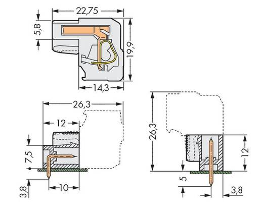 Buchsengehäuse-Kabel 722 Polzahl Gesamt 14 WAGO 722-214/026-000 Rastermaß: 5 mm 25 St.