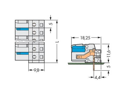 Buchsengehäuse-Platine 722 Polzahl Gesamt 2 WAGO 722-232 Rastermaß: 5 mm 100 St.