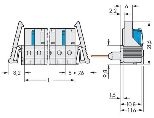 WAGO Buchsengehäuse-Platine 722 Polzahl Gesamt 4 Rastermaß: 5 mm 722-234/005-000/039-000 50 St.