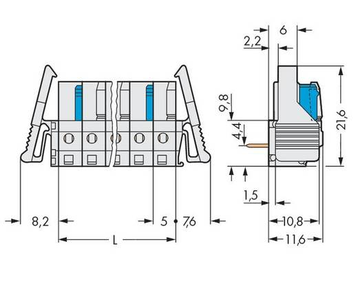 WAGO Buchsengehäuse-Platine 722 Polzahl Gesamt 12 Rastermaß: 5 mm 722-242/039-000 25 St.