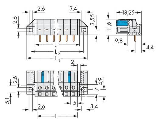 WAGO Buchsengehäuse-Platine 722 Polzahl Gesamt 3 Rastermaß: 5 mm 722-233/047-000 50 St.