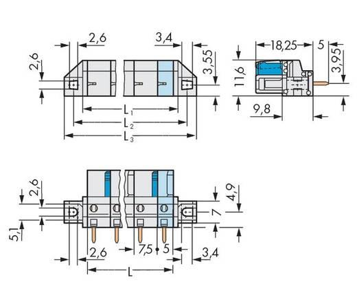 WAGO Buchsengehäuse-Platine 722 Polzahl Gesamt 6 Rastermaß: 7.50 mm 722-736/031-000 25 St.