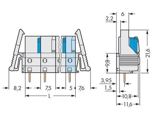 WAGO Buchsengehäuse-Platine 722 Polzahl Gesamt 6 Rastermaß: 7.50 mm 722-736/039-000 25 St.