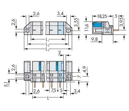 WAGO Buchsengehäuse-Platine 722 Polzahl Gesamt 3 Rastermaß: 7.50 mm 722-733/047-000 50 St.