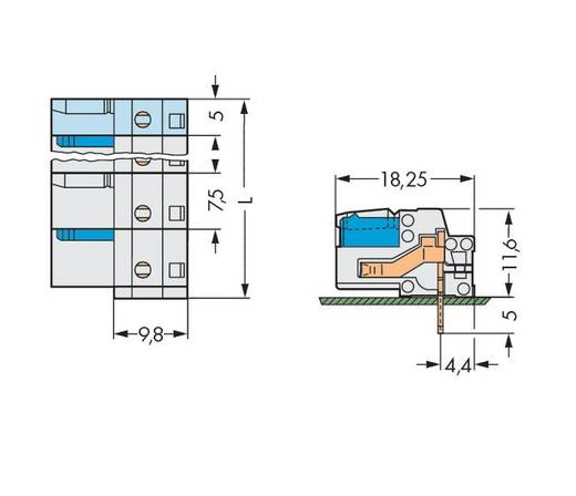 Buchsengehäuse-Platine 722 Polzahl Gesamt 10 WAGO 722-840 Rastermaß: 7.50 mm 25 St.