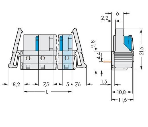 WAGO Buchsengehäuse-Platine 722 Polzahl Gesamt 7 Rastermaß: 7.50 mm 722-837/039-000 25 St.