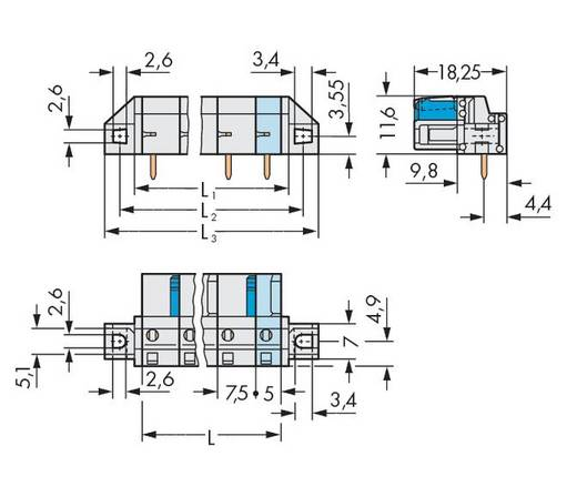 Buchsengehäuse-Platine 722 Polzahl Gesamt 3 WAGO 722-833/031-000 Rastermaß: 7.50 mm 50 St.