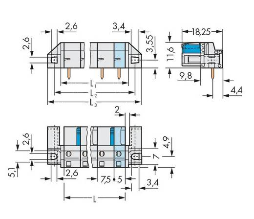 Buchsengehäuse-Platine 722 Polzahl Gesamt 3 WAGO 722-833/047-000 Rastermaß: 7.50 mm 50 St.