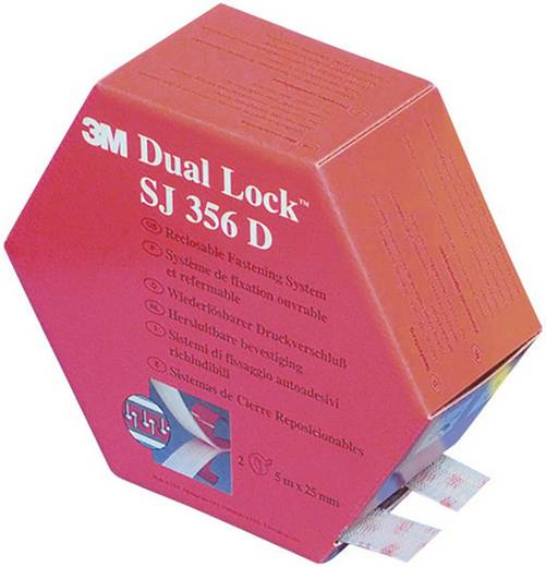 Klettband zum Aufkleben Pilzkopf (L x B) 5000 mm x 25 mm Transluzent 3M SJ 356D Dual Lock 1 Paar