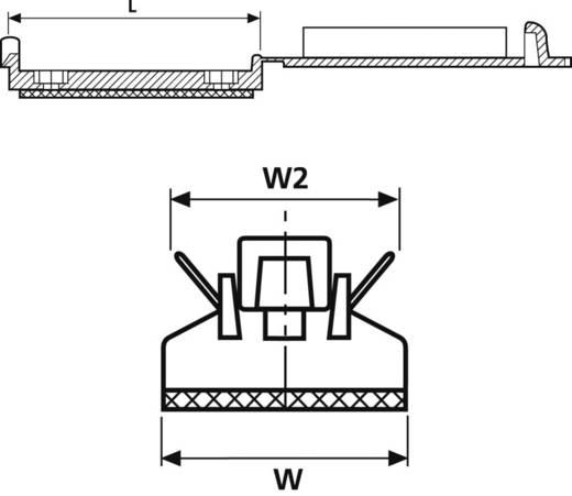 Befestigungssockel schraubbar, selbstklebend für Flachbandkabel, mit Acrylat Kleber, schlagzäh Schwarz HellermannTyton