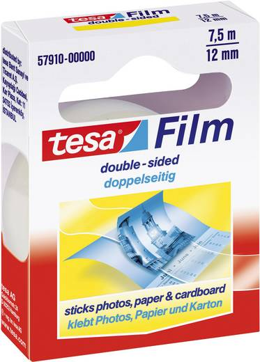 Doppelseitiges Klebeband tesafilm® Transparent (L x B) 7.5 m x 12 mm tesa 57910 1 Rolle(n)