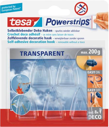 tesa® Powerstrips® Deco Haken Small Transparent POWERSTRIPS® TESA Inhalt: 1 Pckg.