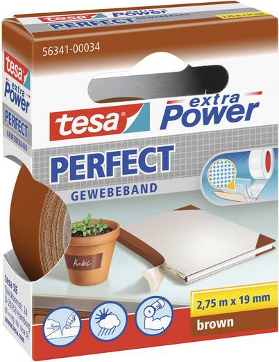 Gewebeklebeband tesa® Extra Power Braun (L x B) 2.75 m x 19 mm tesa 56341-34-2 1 Rolle(n)