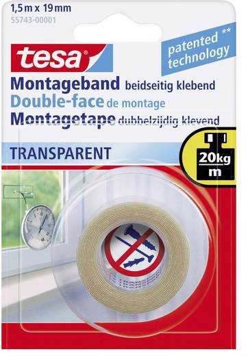 Montageband tesa® POWERBOND Transparent (L x B) 1.5 m x 19 mm tesa 55743 1 Rolle(n)