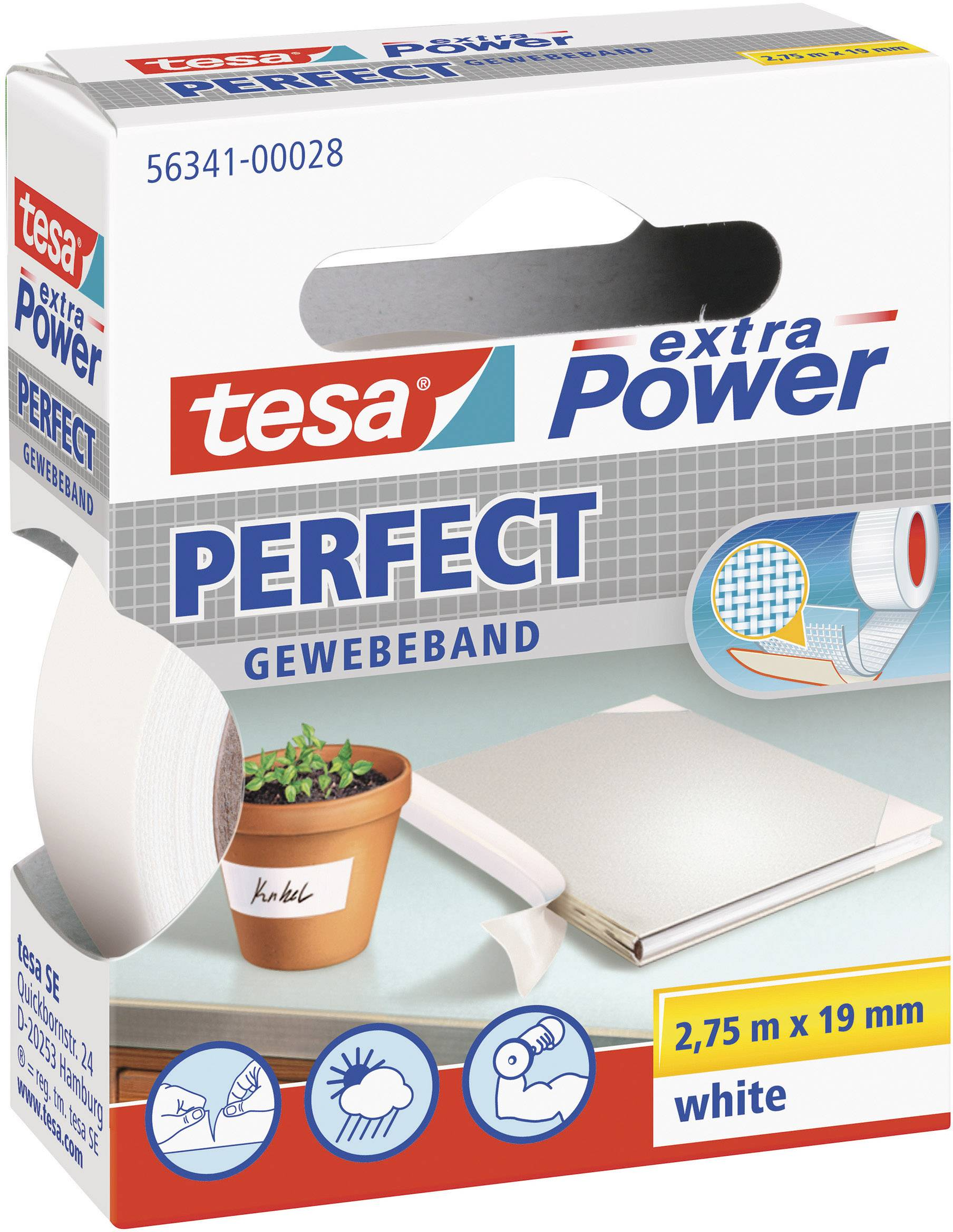 1x Komplett-Set 2,75 m x 19 mm tesa Gewebeband extra Power Perfect