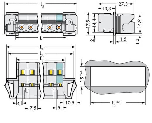 WAGO Stiftleiste (Standard) 2080 Polzahl Gesamt 3 Rastermaß: 7.50 mm 723-603/114-000 50 St.