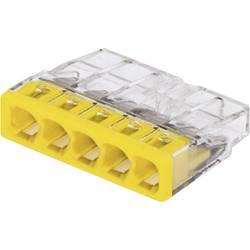 Krabicová svorka WAGO na kábel s rozmerom - , pólů 5, 100 ks, priehľadná, žltá