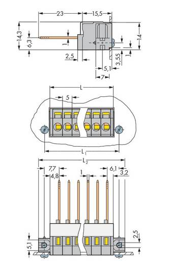 Federkraftklemmblock 2.50 mm² Polzahl 9 WAGO Grau 25 St.