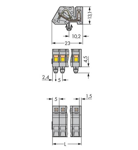 WAGO Buchsengehäuse-Kabel 731 Polzahl Gesamt 3 Rastermaß: 5 mm 731-503/008-000 50 St.
