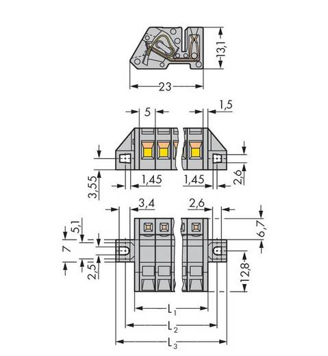WAGO Buchsengehäuse-Kabel 731 Polzahl Gesamt 13 Rastermaß: 5 mm 731-513/031-000 25 St.