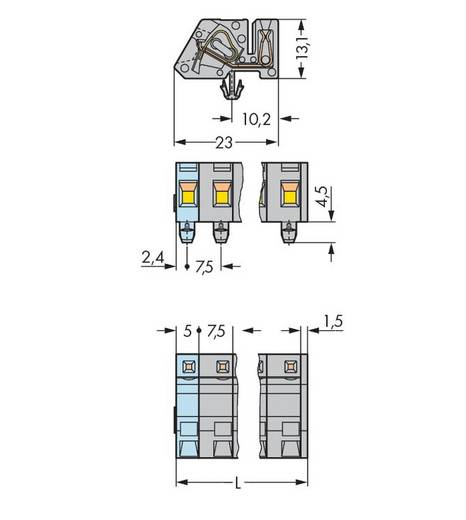 WAGO Buchsengehäuse-Kabel 731 Polzahl Gesamt 5 Rastermaß: 7.50 mm 731-535/008-000 50 St.