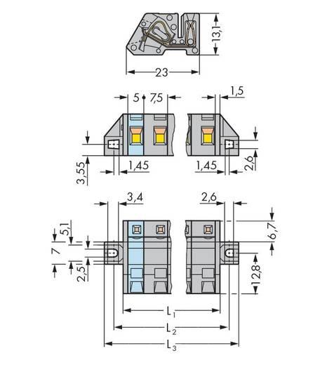 Buchsengehäuse-Kabel 731 Polzahl Gesamt 2 WAGO 731-532/031-000 Rastermaß: 7.50 mm 50 St.