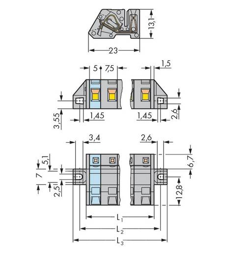 Buchsengehäuse-Kabel 731 Polzahl Gesamt 5 WAGO 731-535/031-000 Rastermaß: 7.50 mm 25 St.