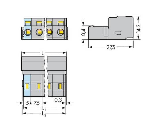 WAGO Stiftleiste (Standard) 2081 Polzahl Gesamt 2 Rastermaß: 7.50 mm 731-602 100 St.