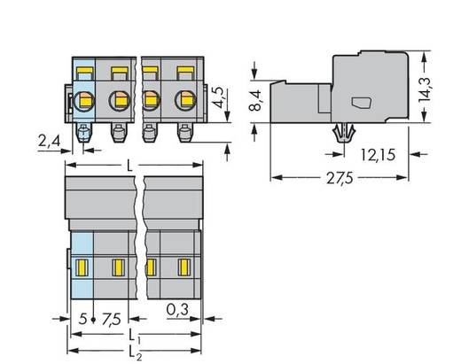 WAGO Stiftleiste (Standard) 2081 Polzahl Gesamt 9 Rastermaß: 7.50 mm 731-609/018-000 25 St.