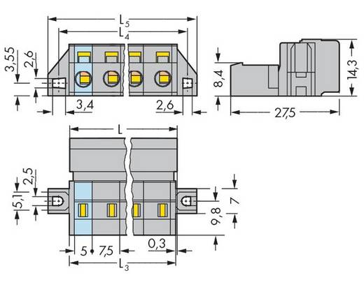 WAGO Stiftleiste (Standard) 2081 Polzahl Gesamt 10 Rastermaß: 7.50 mm 731-610/019-000 25 St.
