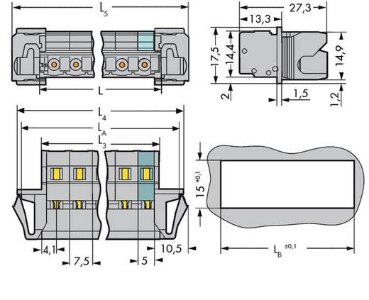 Stiftleiste (Standard) 2081 Polzahl Gesamt 6 WAGO 731-606/114-000 Rastermaß: 7.50 mm 25 St.
