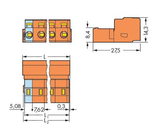 Stiftleiste (Standard) 2081 Polzahl Gesamt 4 WAGO 731-634 Rastermaß: 7.62 mm 50 St.