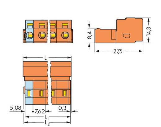 WAGO Stiftleiste (Standard) 2081 Polzahl Gesamt 6 Rastermaß: 7.62 mm 731-636 50 St.