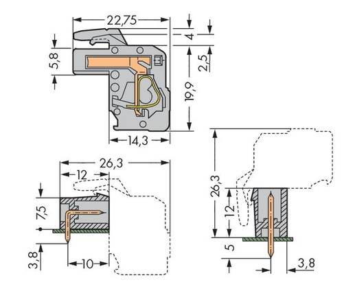 WAGO Buchsengehäuse-Kabel 732 Polzahl Gesamt 4 Rastermaß: 7.50 mm 732-104/026-000 50 St.