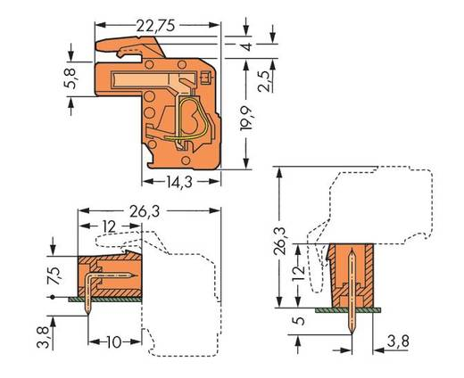 Buchsengehäuse-Kabel 732 Polzahl Gesamt 3 WAGO 732-123/026-000 Rastermaß: 7.62 mm 100 St.