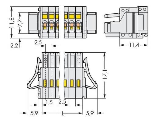 WAGO Buchsengehäuse-Kabel 733 Polzahl Gesamt 8 Rastermaß: 2.50 mm 733-108/033-047 100 St.