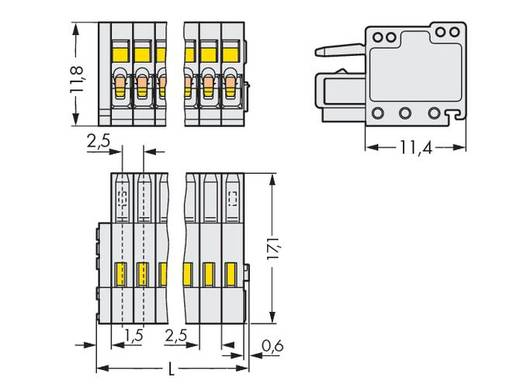 WAGO Buchsengehäuse-Kabel 733 Polzahl Gesamt 6 Rastermaß: 2.50 mm 733-106 100 St.