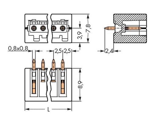 WAGO Stiftleiste (Standard) 2092 Polzahl Gesamt 9 Rastermaß: 2.50 mm 733-339/105-604 200 St.
