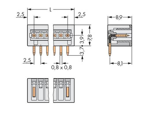WAGO Stiftleiste (Standard) 2092 Polzahl Gesamt 5 Rastermaß: 2.50 mm 733-365 200 St.