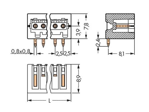 WAGO Stiftleiste (Standard) 2092 Polzahl Gesamt 2 Rastermaß: 2.50 mm 733-362/105-604 200 St.