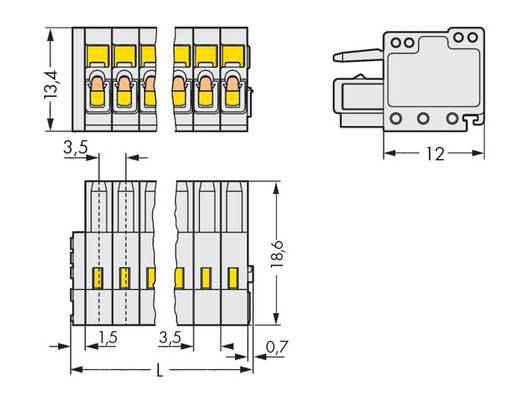 Buchsengehäuse-Kabel 734 Polzahl Gesamt 6 WAGO 734-106 Rastermaß: 3.50 mm 100 St.
