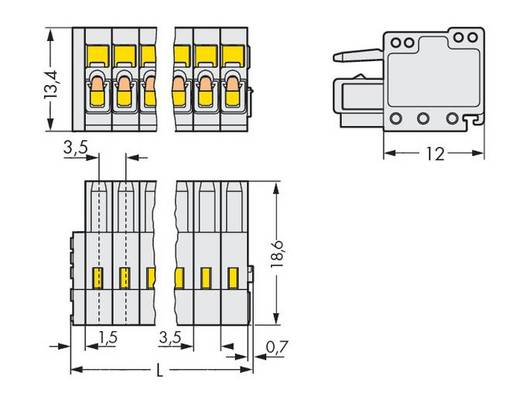 WAGO Buchsengehäuse-Kabel 734 Polzahl Gesamt 18 Rastermaß: 3.50 mm 734-118 25 St.