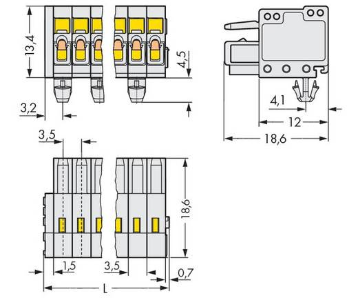 WAGO Buchsengehäuse-Kabel 734 Polzahl Gesamt 5 Rastermaß: 3.50 mm 734-105/008-000 100 St.