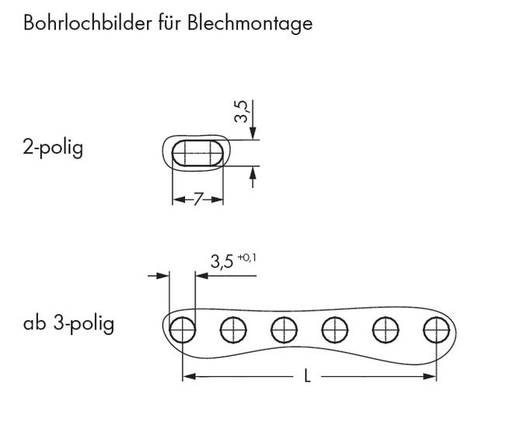 WAGO 734-203/008-000 Buchsengehäuse-Kabel 734 Polzahl Gesamt 3 Rastermaß: 3.81 mm 200 St.