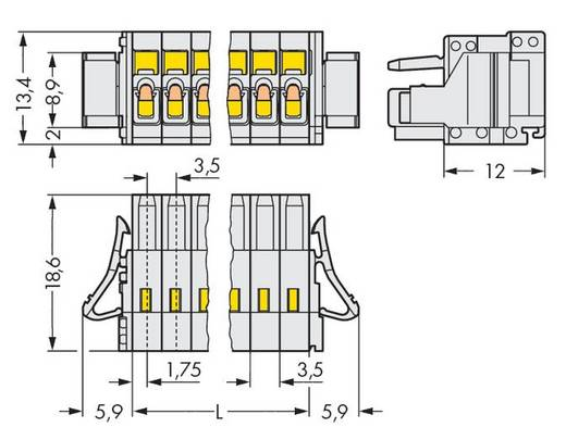 Buchsengehäuse-Kabel 734 Polzahl Gesamt 18 WAGO 734-118/037-000/036-000 Rastermaß: 3.50 mm 25 St.