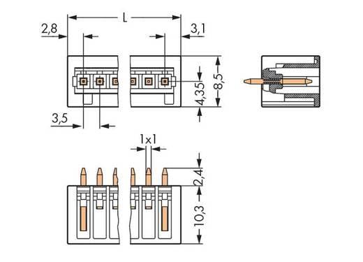 WAGO Stiftleiste (Standard) 2140 Polzahl Gesamt 12 Rastermaß: 3.50 mm 734-142/105-604 100 St.