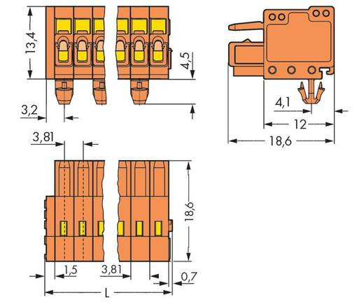 WAGO 734-206/008-000 Buchsengehäuse-Kabel 734 Polzahl Gesamt 6 Rastermaß: 3.81 mm 100 St.