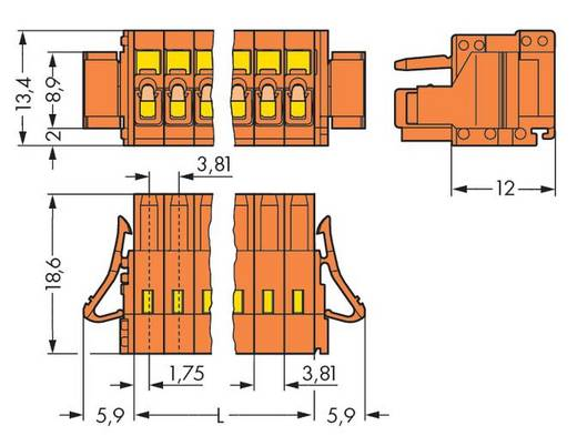 Buchsengehäuse-Kabel 734 Polzahl Gesamt 2 WAGO 734-202/037-000 Rastermaß: 3.81 mm 100 St.