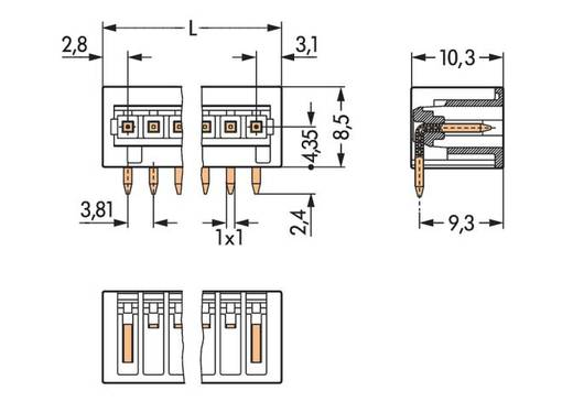 WAGO Stiftleiste (Standard) 2140 Polzahl Gesamt 6 Rastermaß: 3.81 mm 734-266/105-604 100 St.